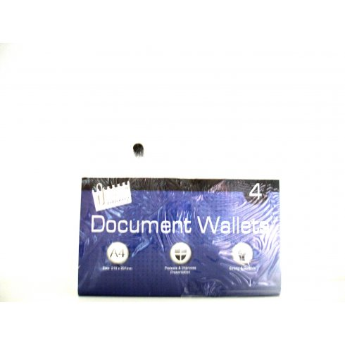 A4 Plastic Document Wallets Pack of 4
