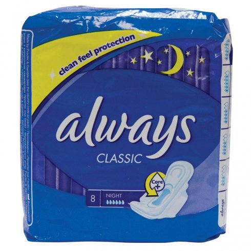Always Classic Night Clean Feel Protection pack of 8