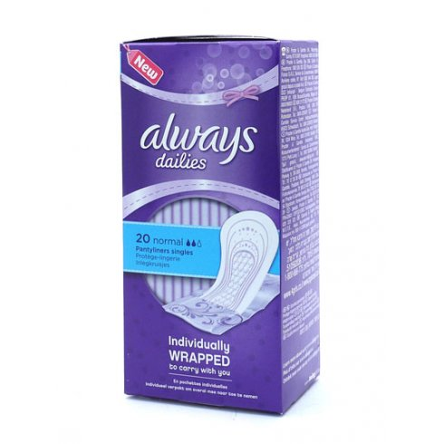 Always Dailies Normal Panty Liners 20's Individually Wrapped to carry with you
