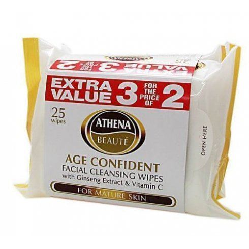 Athena Beauty Age Confident Facial Cleansing Wipes 3 For the Price of 2 with Ginseng Extract & Vitamin C