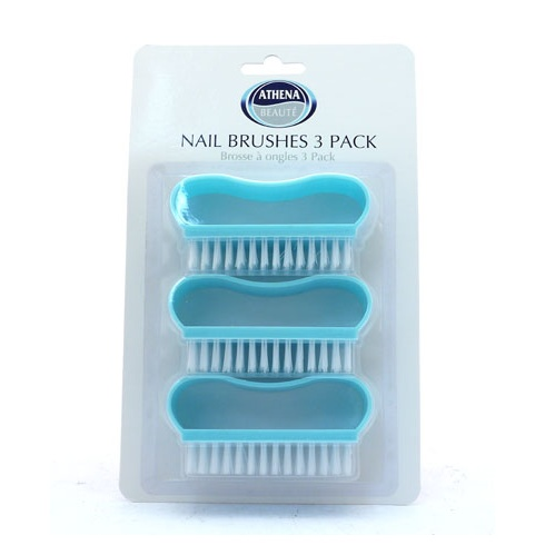 Athena Nail Brushes Pack of 3 Plastic Handles