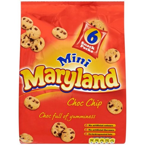 Burton's Maryland Mini Choc Chip 6 Snack Pack 150g Choc full of Yumminess