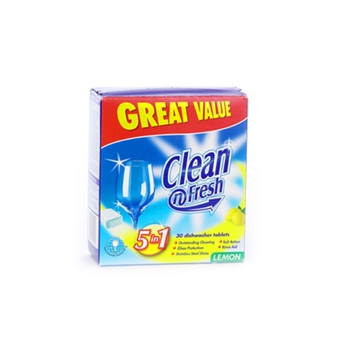 Clean n Fresh Dishwasher Tablets Lemon 5 in 1 15 Tablets Great Value