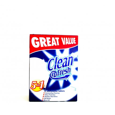 Clean n Fresh Dishwasher Tablets Original 5 in 1 15 Tablets Great Value