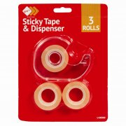 Clear Sticky Tape 3 Rolls with Dispenser