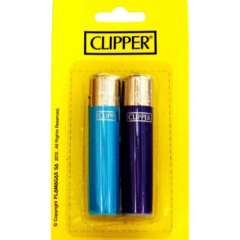 Clipper Lighter 2 Pack Solid Colur Flint Gas Refillable