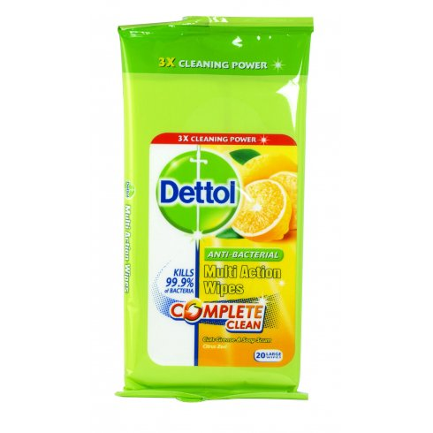 Dettol Multi Action Surface Wipes Citrus Zest Pack of 20 Large Wipes