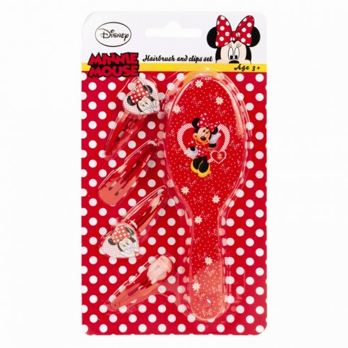 Disney Minnie Mouse Hair Brush and Clips Set