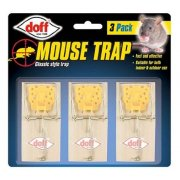 Doff Mouse Trap 3 Pack Classic Style Trap Wooden Base