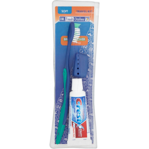 DR Fresh Dailies Travel Kit Brush, Cover & Toothpaste Travel Bag