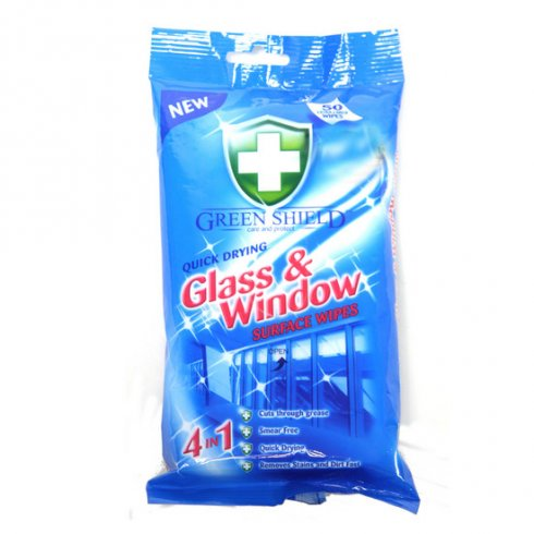 Green Shield Glass And Window Wipes Quick Drying Surface Wipes 4 in 1 Pack of 50 Wipes