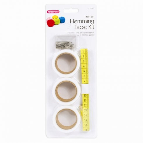 Iron On Hemming Tape Kit 3 Rolls with Tape Measure and 200 pins