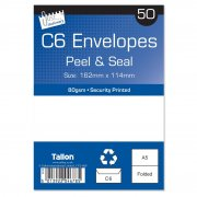 Just Stationery C6 Envelopes Peel & Seal Pack of 50 White Size 162mm x 114mm 80gsm Security Printed