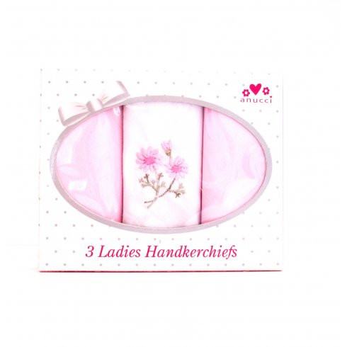 Ladies Handkerchiefs Boxed pack of 3 Embroidered Different designs