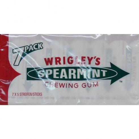 Mars Wrigley's Spearmint Chewing Gum 7 Pack x 5 Sticks in Each Pack