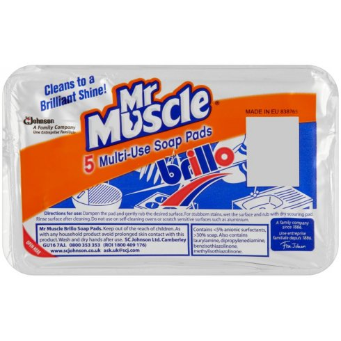 Mr Muscle Brillo Pads Multi Use Soap Pads Pack of 5