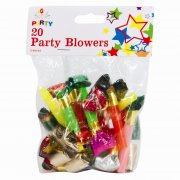 Party Blowers Pack of 20 Mixed Colours with Trumpet Sound
