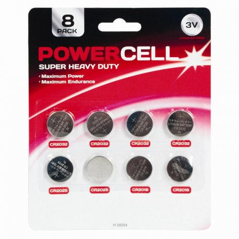Powercell Super Heavy Duty Button Cell Batteries 8 Pack 3v Lithium. Maximum Power Maximum Endurance