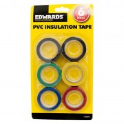 PVC Insulation Tape 18mm x 8m Pack of 6 Rolls Various colours in Each Pack