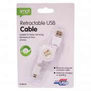 Retractable USB Cable For Nokia Samsung Blackberry And Sony Phones 76cm Approx