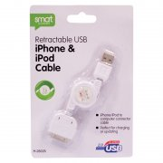 Retractable USB iphone and ipod Cable 76cm Approx