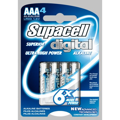 Supacell Superior Digital Ultra High Power AAA Batteries 4 Pack 1.5V LR03