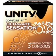 Unity Ultimate Sensation Condoms 3 Pack Ribbed & Dotted