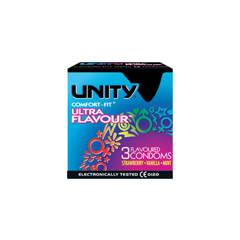 Unity Ultra Flavour Comfort Fit Condoms 3 Pack Strawberry. Vanilla. Mint