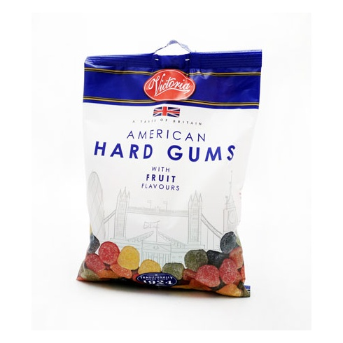 Victoria Confectionery American Hard Gums with Fruit Flavours 250g Bag A Taste of Britain