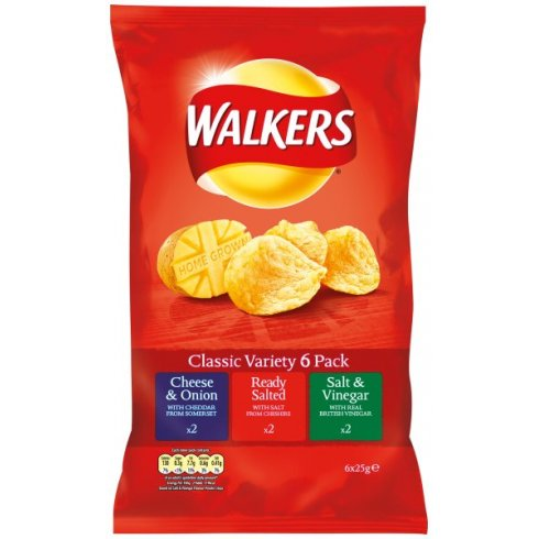 Walkers Variety Crisps 6 Pack 6 x 25g